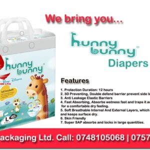hunny bunny diapers, robin packaging